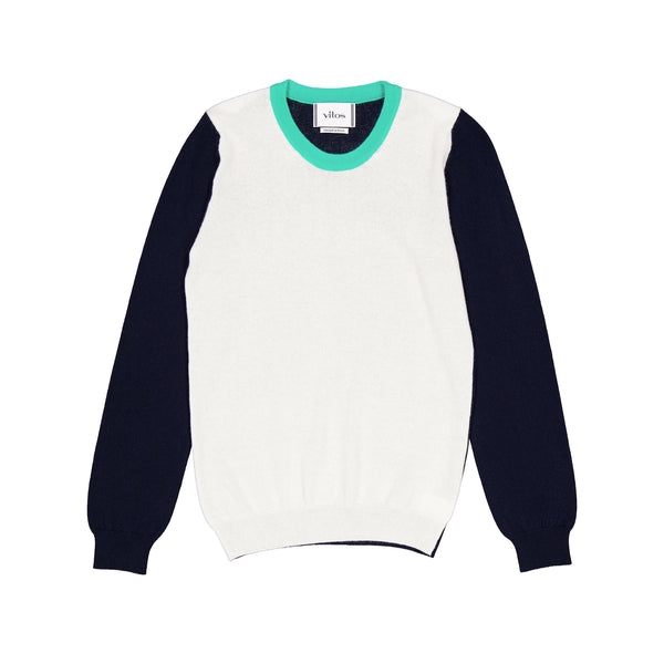 Vitos 1925 VS41 white navy and turquoise colorblock regular fit cashmere sweater