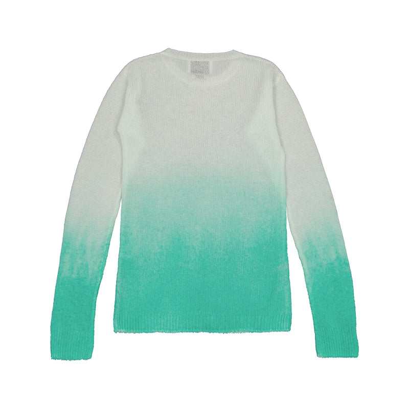 Vitos 1925 VS49 turquoise gradient color fitted sheer cashmere sweater back view