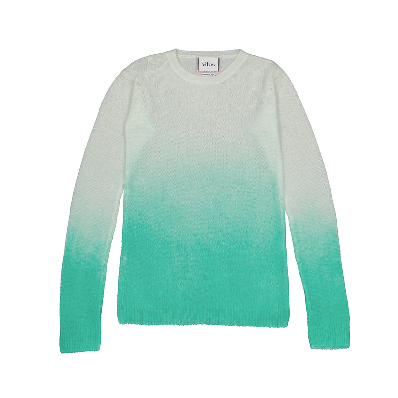 Vitos 1925 VS49 turquoise gradient color fitted sheer cashmere sweater