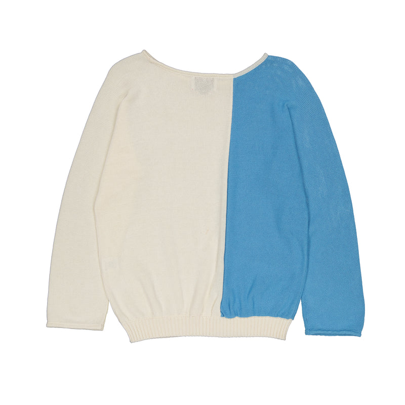 Vitos 1925 VS6 white and blue colorblock loose fit boat neck cotton sweater back view