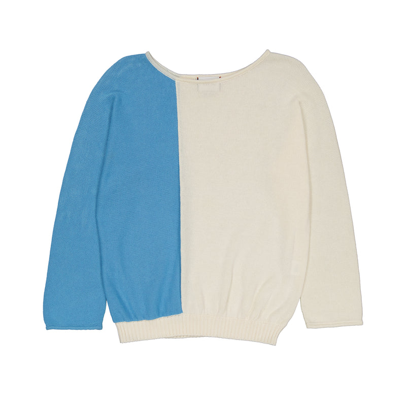 Vitos 1925 VS6 white and blue colorblock loose fit boat neck cotton sweater