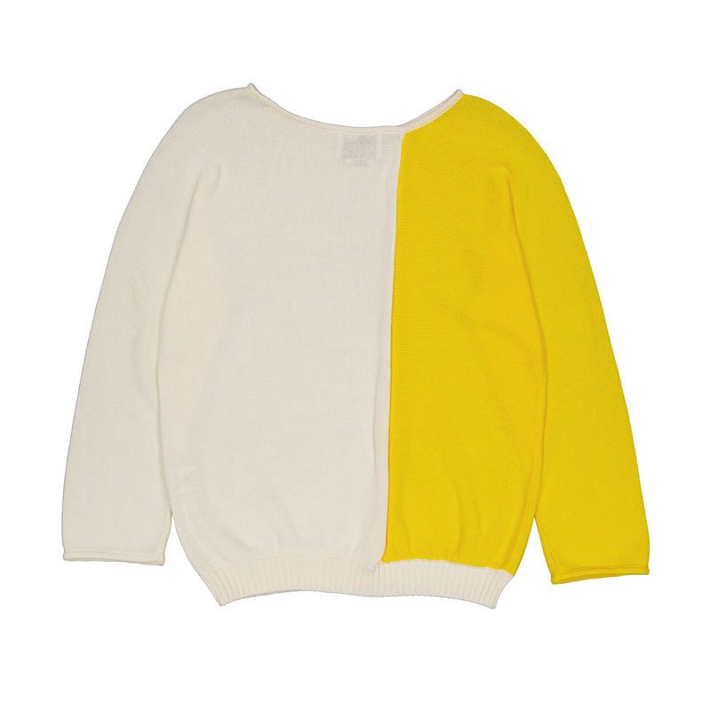 Vitos 1925 VS6 white and yellow colorblock loose fit boat neck cotton sweater back view