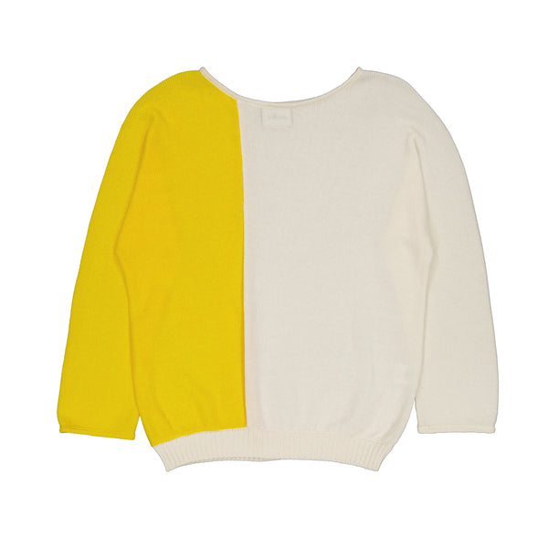 Vitos 1925 VS6 white and yellow colorblock loose fit boat neck cotton sweater