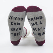 Load image into Gallery viewer, If you can read this, bring me wine socks. Gray sock with black text