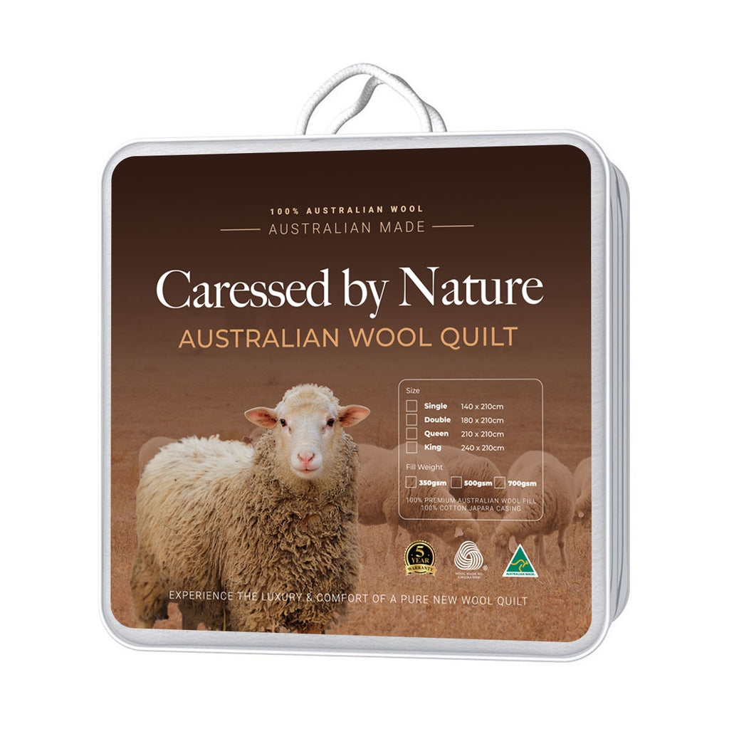Classic Wool Quilt 700gsm - Caressed by Nature Australian Wool Quilts and Under blankets