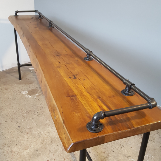 Drink Rail Bar Table, Reclaimed live edge Bar, Custom sizes