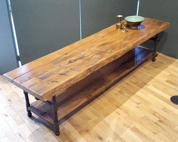 Reclaimed Wood Coffee Table with Shelf, Live edge Media Table, this table in stock now