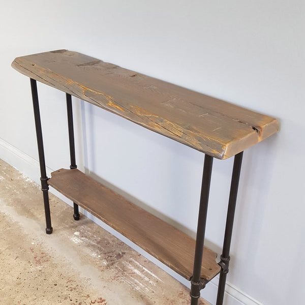 Entryway Console Table with Shelf, Gray Reclaimed Wood, Ready to Ship