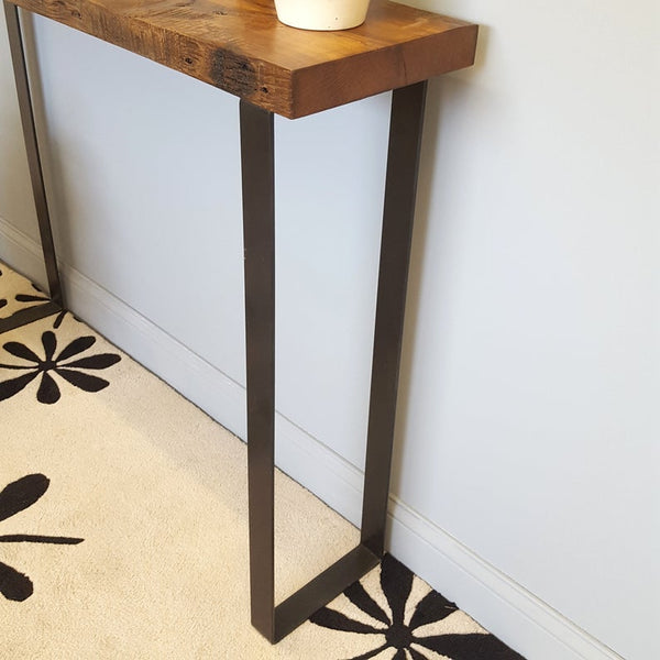Reclaimed Wood Behind Sofa Console Table with Modern Steel Legs, Ready to Ship