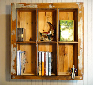 Bookshelf from Vintage Antique window & pallet wood, repurposed window frame, flush mount or surface mount