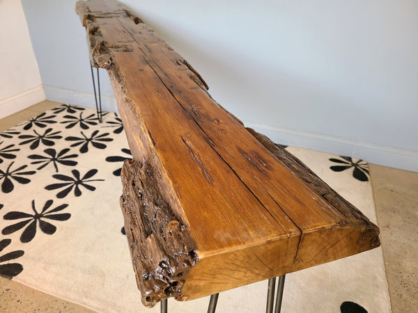 Reclaimed Wood Console Table, 7 foot long, Unique table, Ready to Ship Free