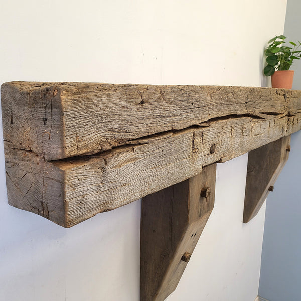 "Barn Beam Mantel, 61"" Reclaimed Wood Mantel, Floating Mantel, Fireplace Mantel, Rustic Mantel, Hand Hewn Mantel, Barnwood Mantel, Oak Mantel, M3"