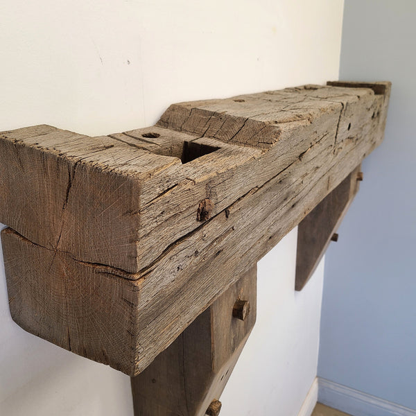"Barn Beam Mantel, 52"" Reclaimed Wood Mantel, Floating Mantel, Fireplace Mantel, Rustic Mantel, Hand Hewn Mantel, Barnwood Mantel, Oak Mantel, M4"