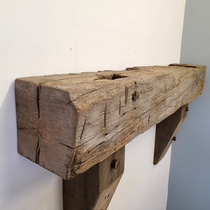 "Barn Beam Mantel, 48 1/2"" Reclaimed Wood Mantel, Floating Mantel, Fireplace Mantel, Rustic Mantel, Hand Hewn Mantel, Barnwood Mantel, Oak M5"