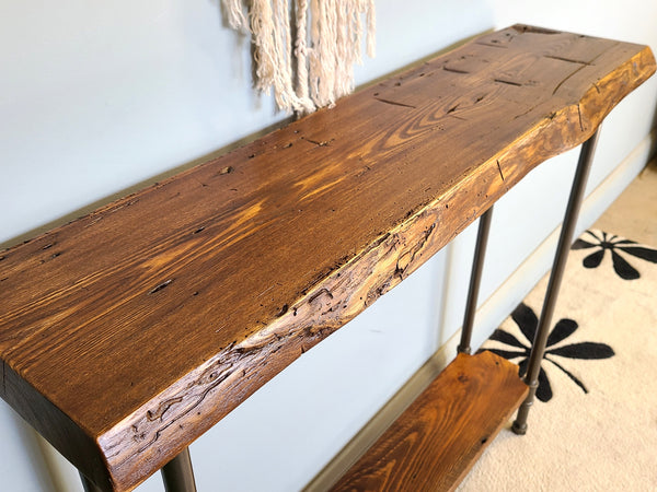 Reclaimed wood console table with a shelf, Handmade Entryway console table