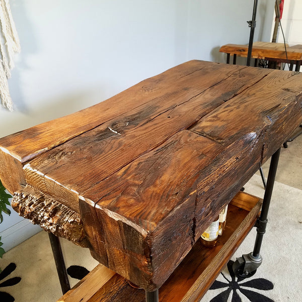 Bar Cart of reclaimed timbers
