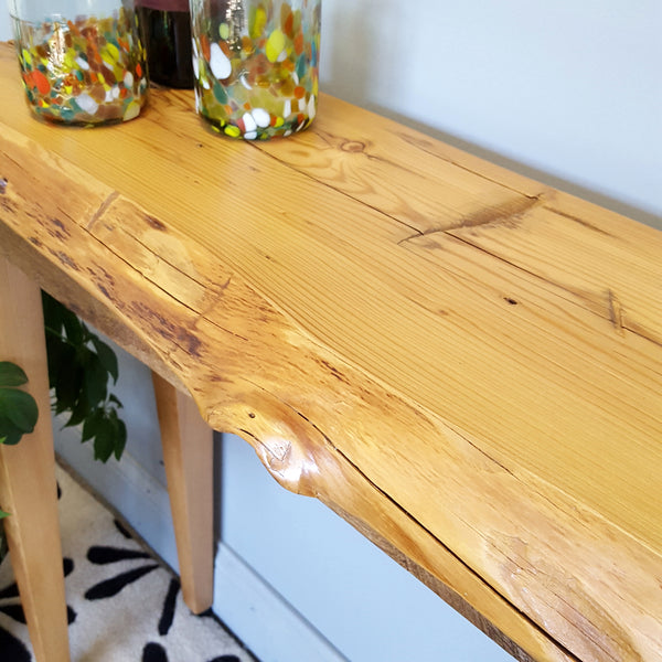 Reclaimed wood console table, 25% off, classic style wooded legs