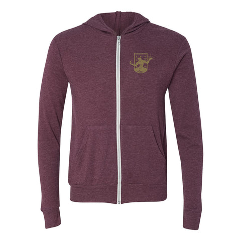 DCFC Full Zip Hoodie- Crest Heather Maroon
