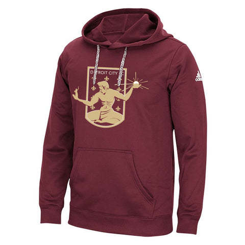DCFC Embroidered Crest adidas Men's Hoodie- Maroon