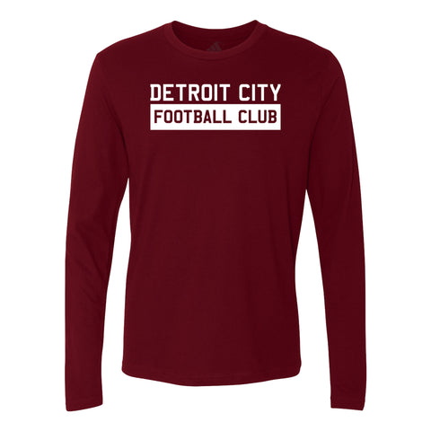 DCFC Adidas Long Sleeve Block Text Tee - Maroon