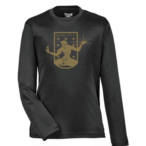 DCFC Youth Long Sleeve Performance Tee- Crest- Black