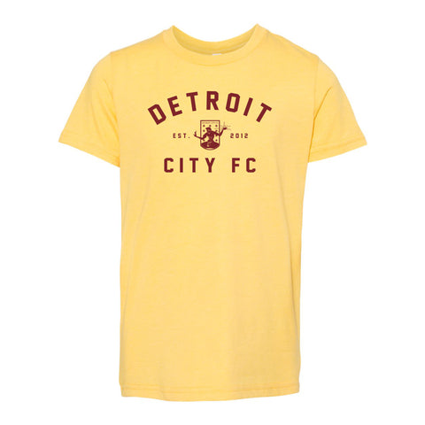 DCFC Est 2012 Youth Tee - Heather Yellow Gold
