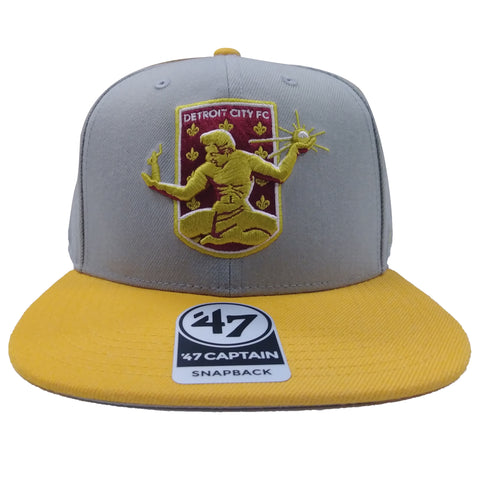DCFC 47 Brand Adjustable Snapback Hat - Crest Gray/Gold