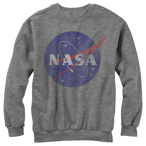 The gray sweatshirt features the official logo of NASA. The logo is distressed and located on the top center front of the sweatshirt.