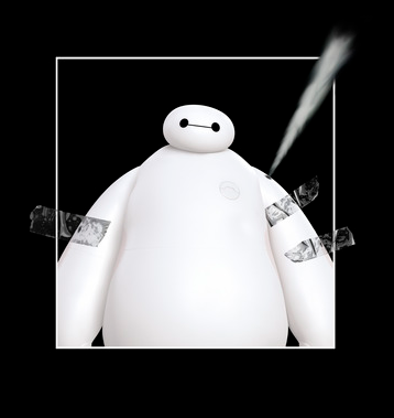 A taped image of Baymax with air escaping from his shoulder