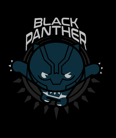 Black Panther is portrayed in a fun kawaii style underneath his name in white text