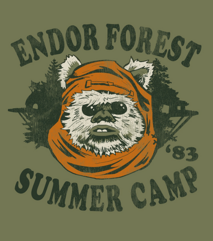 "A distressed vintage-style print  reads ""Endor Forest Summer Camp '83"" around the famous Ewok Wicket"