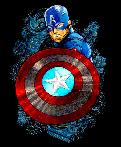 A brightly colored sketch of Captain America and his shield surrounded by Starry Night inspired swirls
