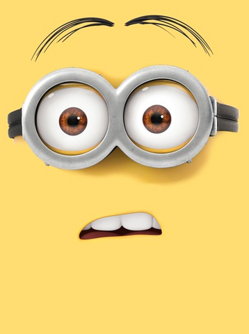Yellow background with the face of a confused minion