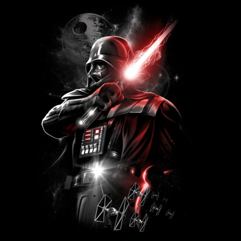 Darth Vader in space holding a glowing red lightsaber