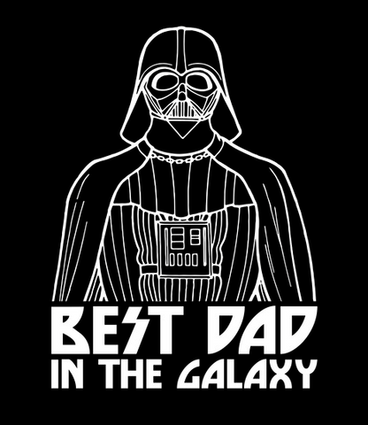 """A drawing-style print of Darth Vader is featured next to """"Best Dad in the Galaxy"""""""