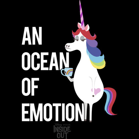 "Rainbow hair unicorn standing up on right side. She is holding a mug with no emotions on her face. The text ""an ocean of emotion"" is bolded on the left"