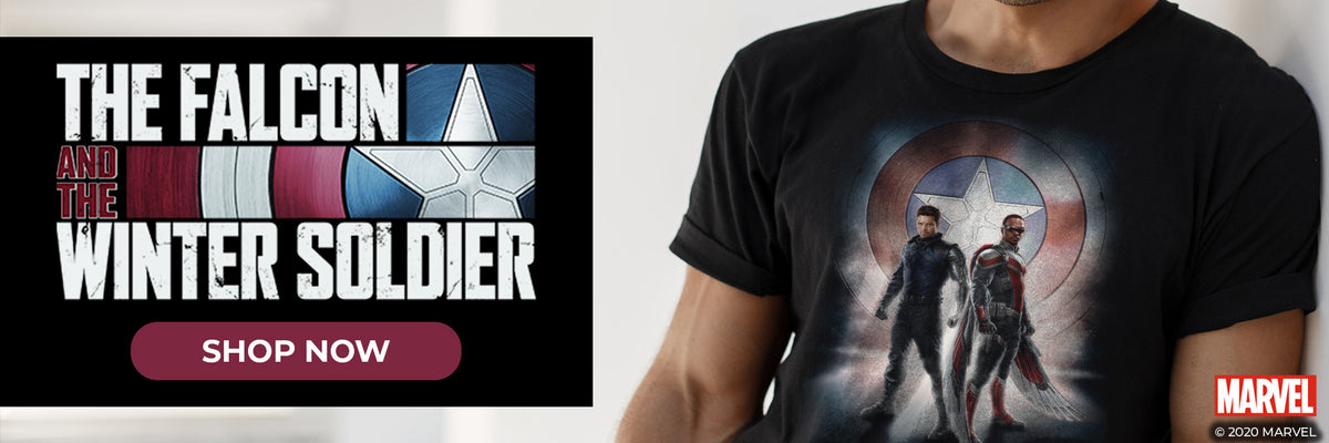 The Falcon and the Winter Soldier Shop Now. Man in Captain America shield shirt.