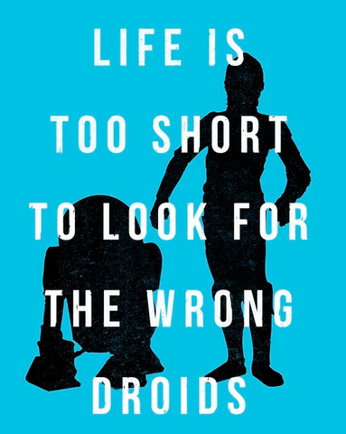 """Silhouette of R2-D2 and C-3PO on a light blue background with white text that reads """"Life is too short to look for the wrong droids"""""""