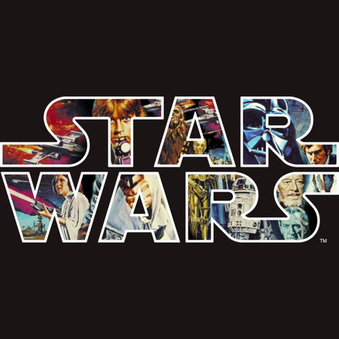 Classic Star Wars Logo with movie scenes filling the letters