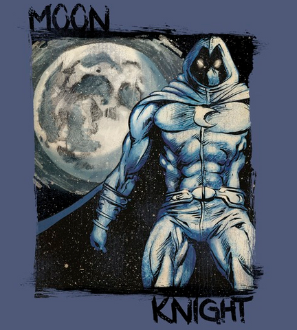 paint-style print of Moon Knight with a glowing full moon behind him and a starry night in the background