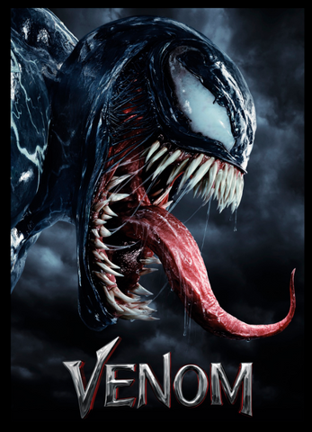 side profile of venom sticking his long tongue out in the storm