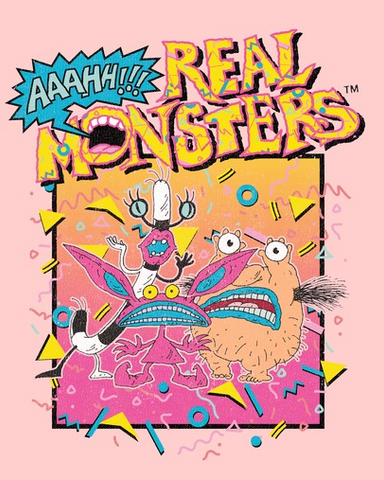 "Ickis, Oblina and Krumm in a boxed yellow square with the text, ""Aaahh!!! Real Monsters"""