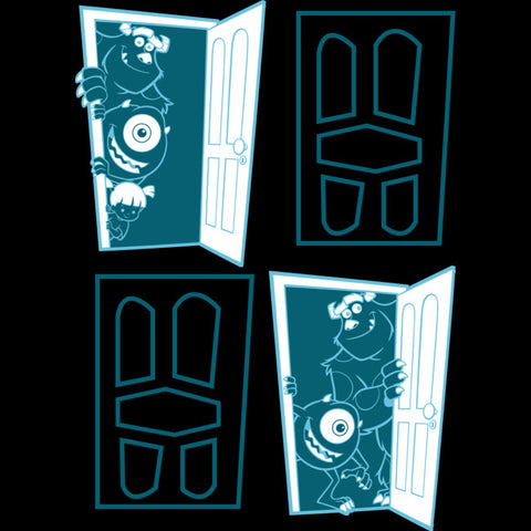 There are four doors with two of them closed. The other two opened doors on the top left and bottom right have Mike and Sulley peeking through them.