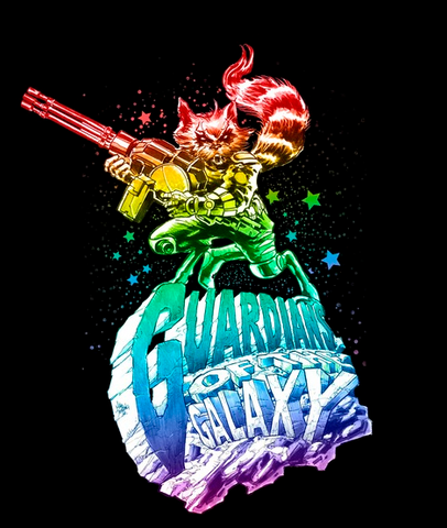 """Ombre rainbow of Rocket Racoon holding a rocket launcher and riding an asteroid that reads, """"Guardians of the Galaxy"""""""