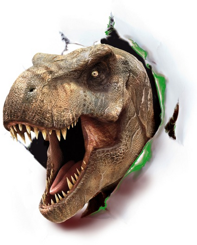 Tyrannosaurus rex appears to burst through with his mouth open wide and the Jurassic World logo below