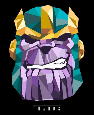 Thanos is portrayed in geometric shapes in shades of purple, teal and gold