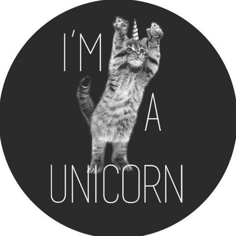 """A black and white print features the words """"I'm a Unicorn"""" next to an adorable kitten with a unicorn horn"""