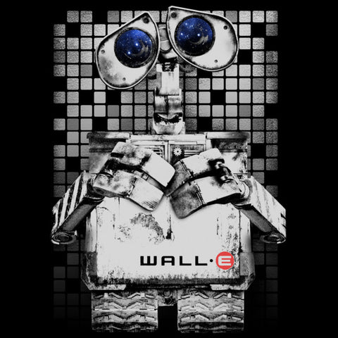 Wall-E in black and white with blue eyes and a tile background.