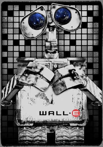 Black and white Wall-E with blue eyes in front of a tile background