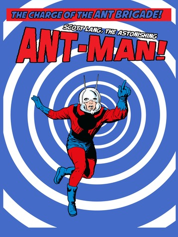 """Blue and white swirls with Ant-Man rushing in to save the day. Above him reads """"The Charge of the Ant Brigade! Scott Lang, the Astonishing Ant-Man!"""""""